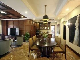 美式原木色宽敞明亮餐厅设计