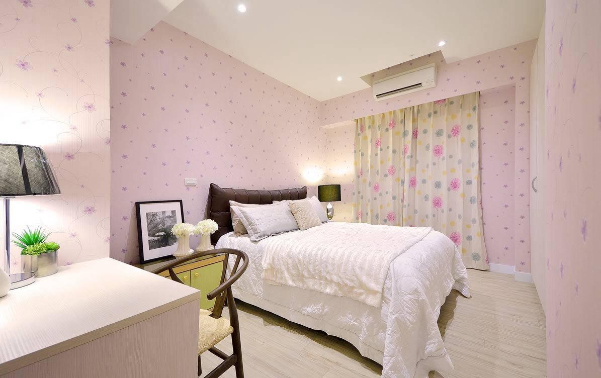 清新碎花简约粉色女生卧室布置设计