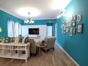 混搭质感蓝色照片墙展示