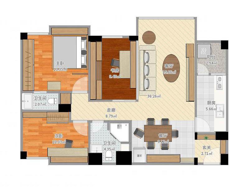 简单而又精心的布局,使69方的房子也能营造出现代,大气的舒适感.