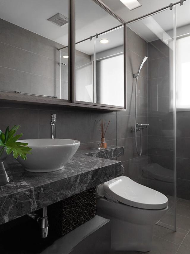 大理石台面卫生间,厚重的居家感。
