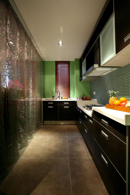 时尚个性混搭风格厨房装修设计图