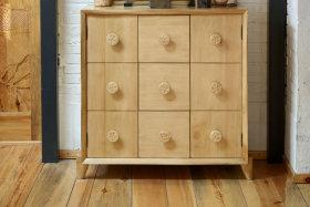 古朴原木色鞋柜展示