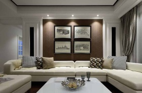 新古典时尚沙发背景墙装潢设计