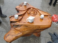 根雕茶桌图片
