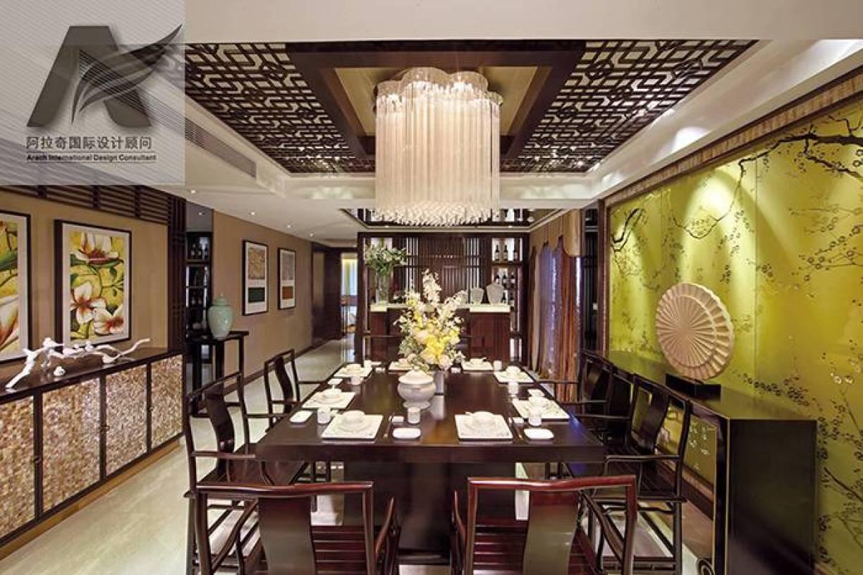 244㎡四居室新中式风格餐厅吊顶装修效果图-新中式风格餐桌餐椅图片