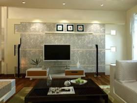 80㎡小户型简约风格客厅电视背景墙装修效果图-简约风格茶几图片