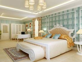 清新简欧风格四居室卧室背景墙效果图,简欧风格吊顶图片