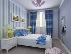 卧室蓝白条纹背景墙壁纸装修效果图