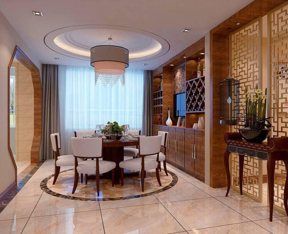 201㎡四居新中式风格餐厅吊顶装修效果图-新中式风格餐边柜图片图片