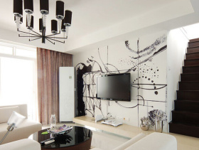简约风格复式楼客厅电视背景墙装修效果图-简约风格茶几图片