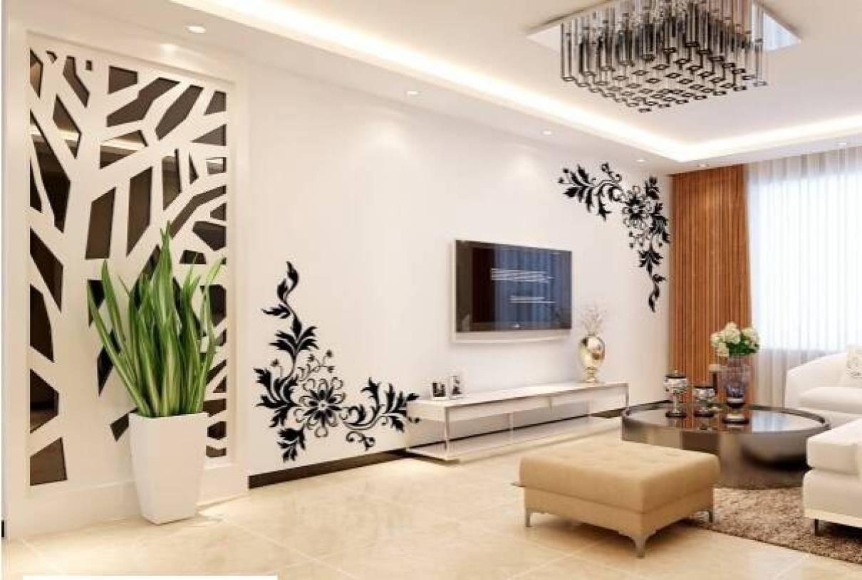 现代风格客厅手绘电视背景墙装修图片