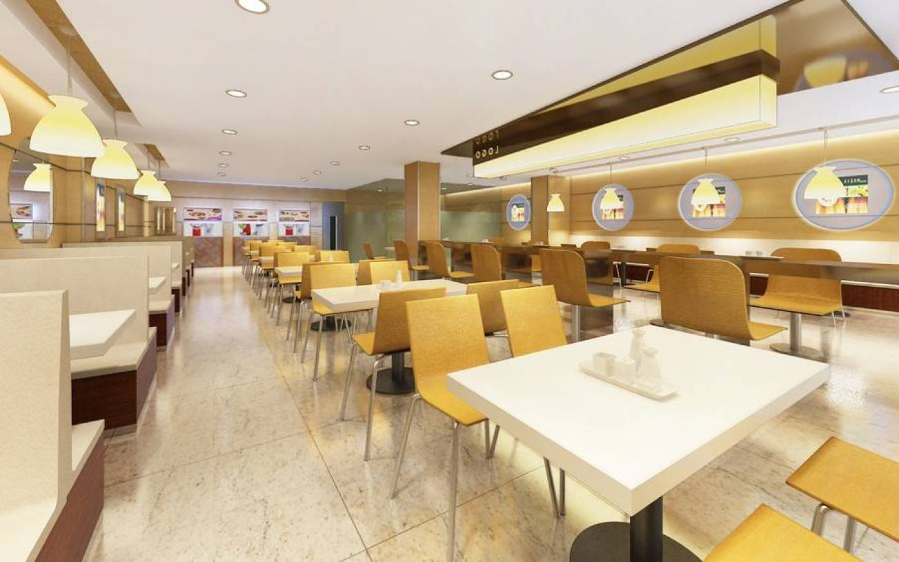 现代风格小吃店吊顶装修效果图-现代风格餐桌椅图片