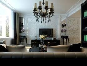 140㎡四居简约欧式风格客厅电视背景墙装修效果图-简约欧式风格电视柜图片