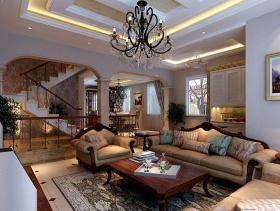 欧式风格复式楼客厅装修效果图-欧式风格吊灯图片