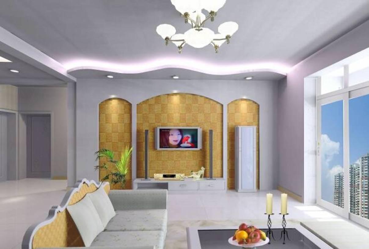 简约风格客厅石膏线背景墙装修效果图-简约风格电视柜
