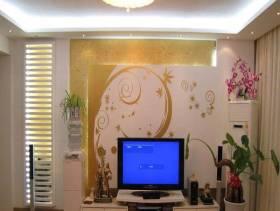 简约风格客厅彩绘背景墙装修图片-简约风格电视柜图片