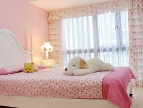 田园风格女生小卧室背景墙装修图片-田园风格实木床图片