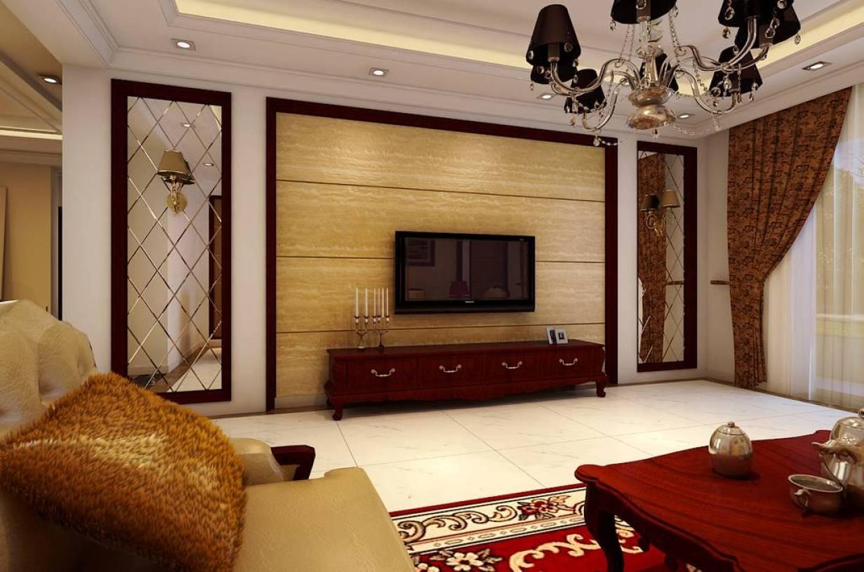 136㎡三居欧式风格客厅吊顶装修效果图-欧式风格电视柜图片