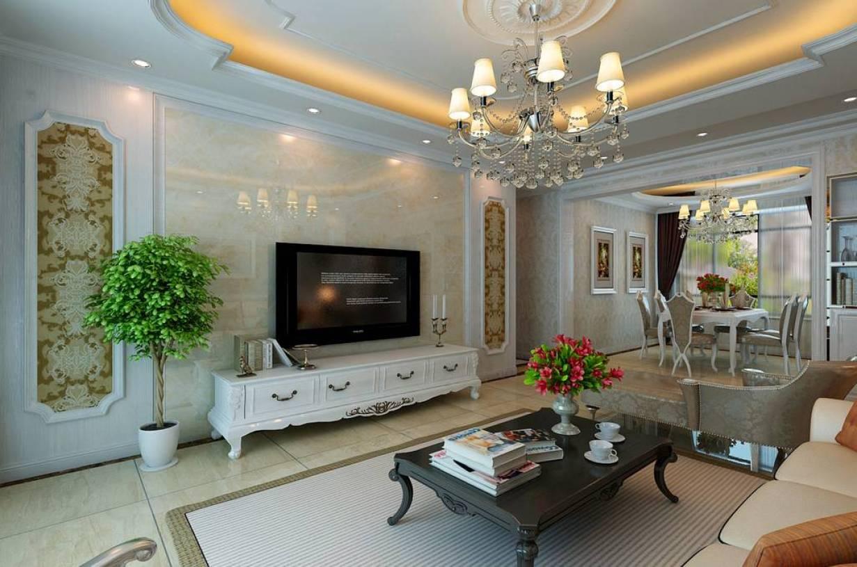 简约欧式风格客厅电视背景墙装修效果图-简约欧式风格