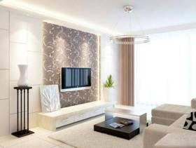 现代简约风格客厅电视背景墙装修效果图-现代简约风格电视柜图片