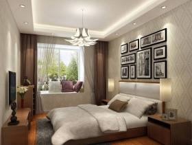 现代风格小户型卧室背景墙装修效果图-现代风格窗帘杆图片