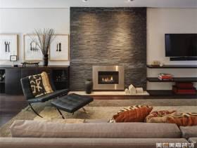 简约风格别墅客厅电视背景墙装修图片-简约风格休闲椅图片