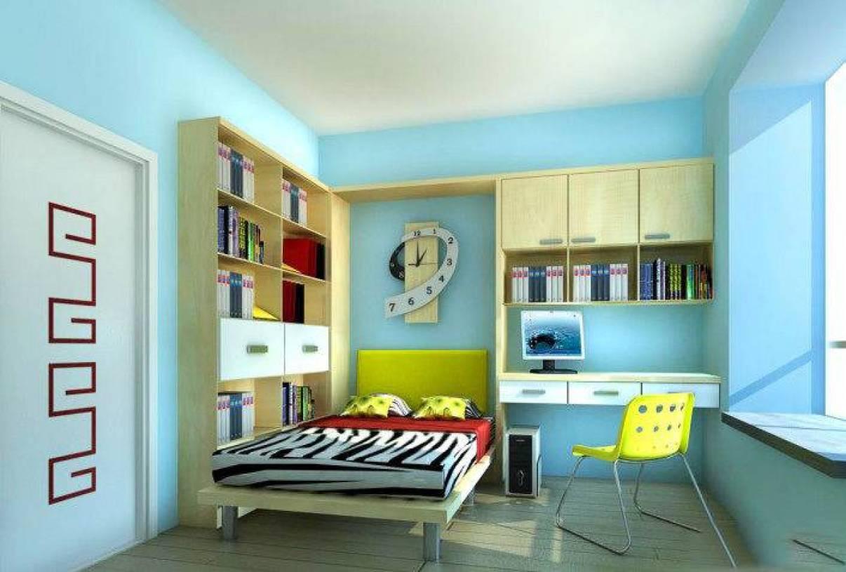 现代风格三居室儿童房装修效果图-现代风格书桌书柜图片图片