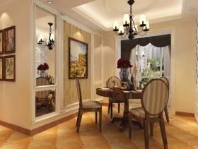 简约欧式风格餐厅背景墙装修效果图-简约欧式风格吊灯图片