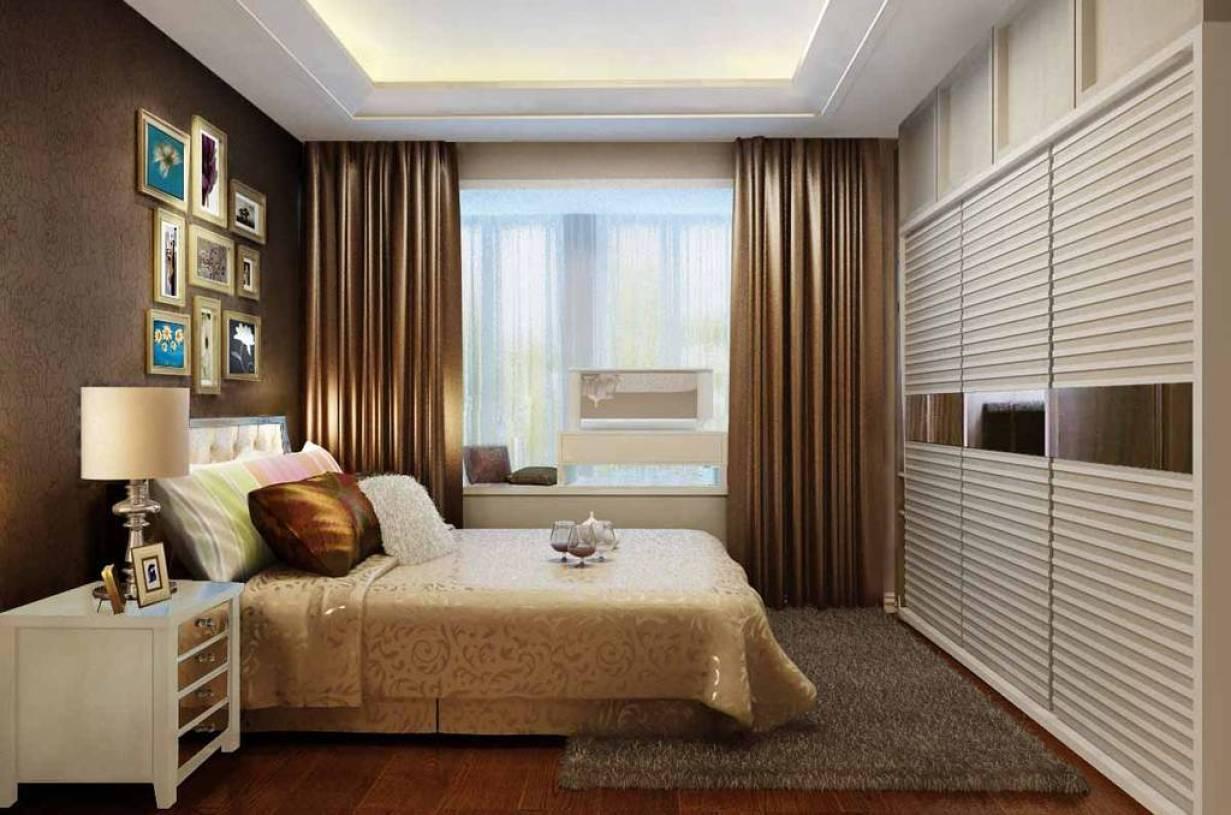简约欧式风格主卧室带阳台装修效果图-简约欧式风格双人床图片