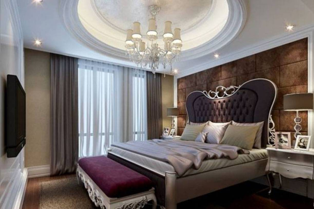 简约欧式风格卧室圆形吊顶装修效果图-简约欧式风格床