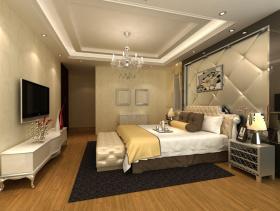 简欧风格卧室软包背景墙装修效果图-简欧风格地柜图片