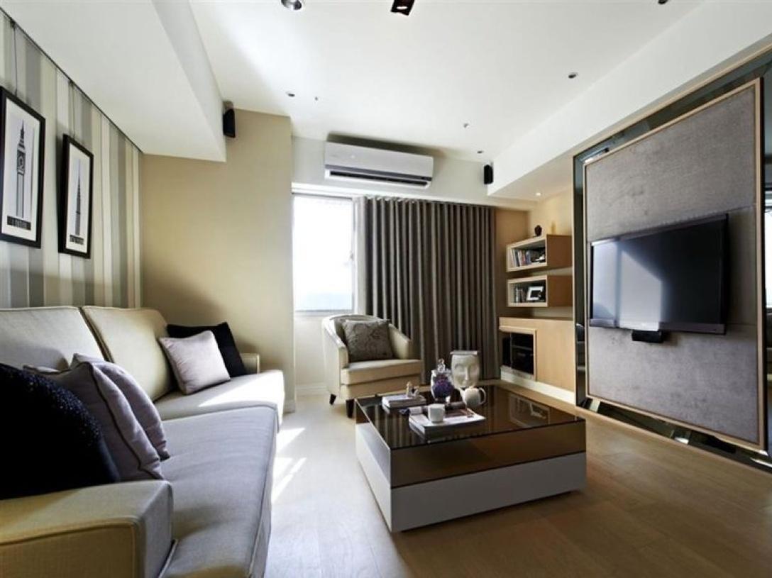 87㎡小户型现代简约风格客厅电视背景墙装修图片-现代