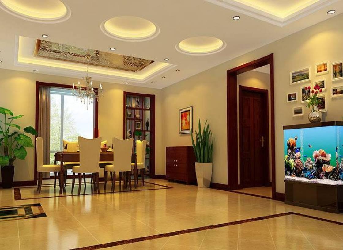 新中式风格餐厅吊顶装修效果图-新中式风格餐边柜图片图片