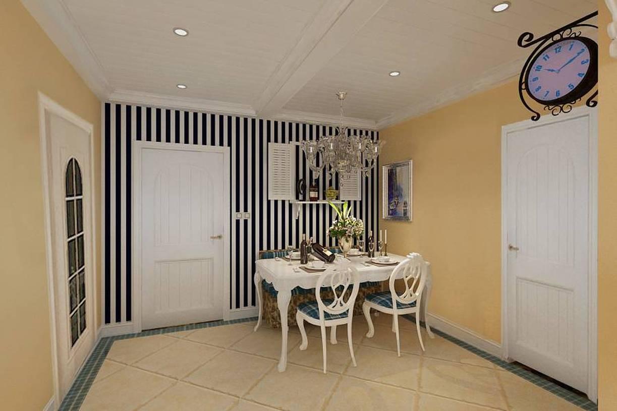 136㎡三居简约欧式风格餐厅背景墙装修效果图-简约欧式风格餐桌餐椅