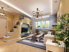 小户型地中海风格客厅电视背景墙装修效果图,地中海风格客厅吊灯图片