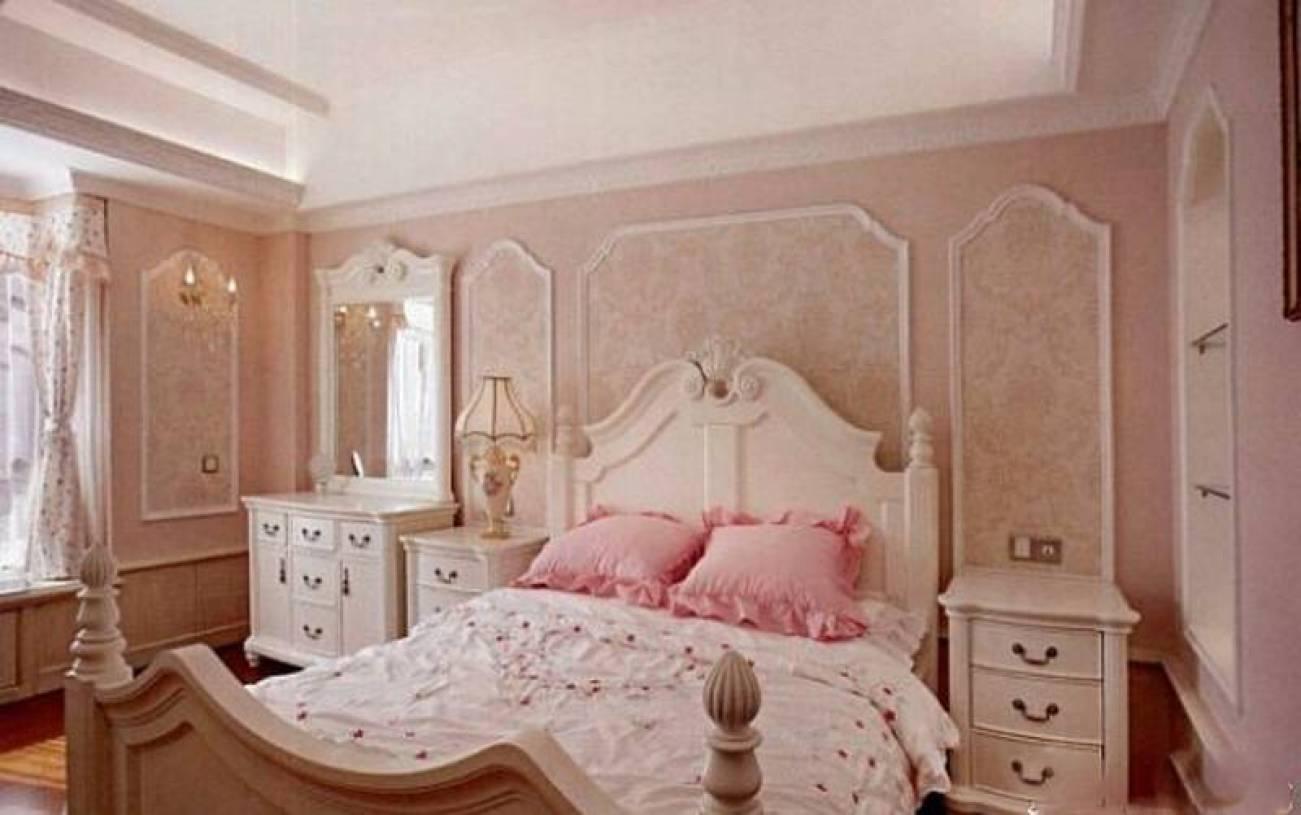 欧式风格卧室背景墙装修图片-欧式风格实木床图片
