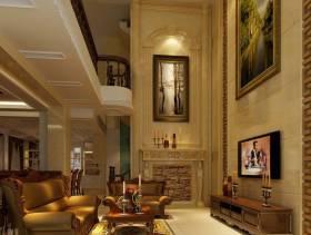 美式风格别墅客厅电视背景墙装修效果图-美式风格装饰画图片