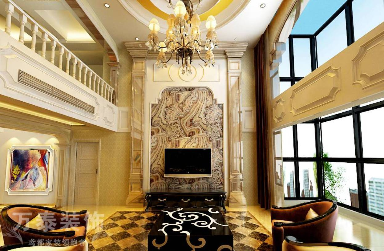 300㎡复式楼新古典风格客厅电视背景墙装修效果图-新古典风格茶几图片