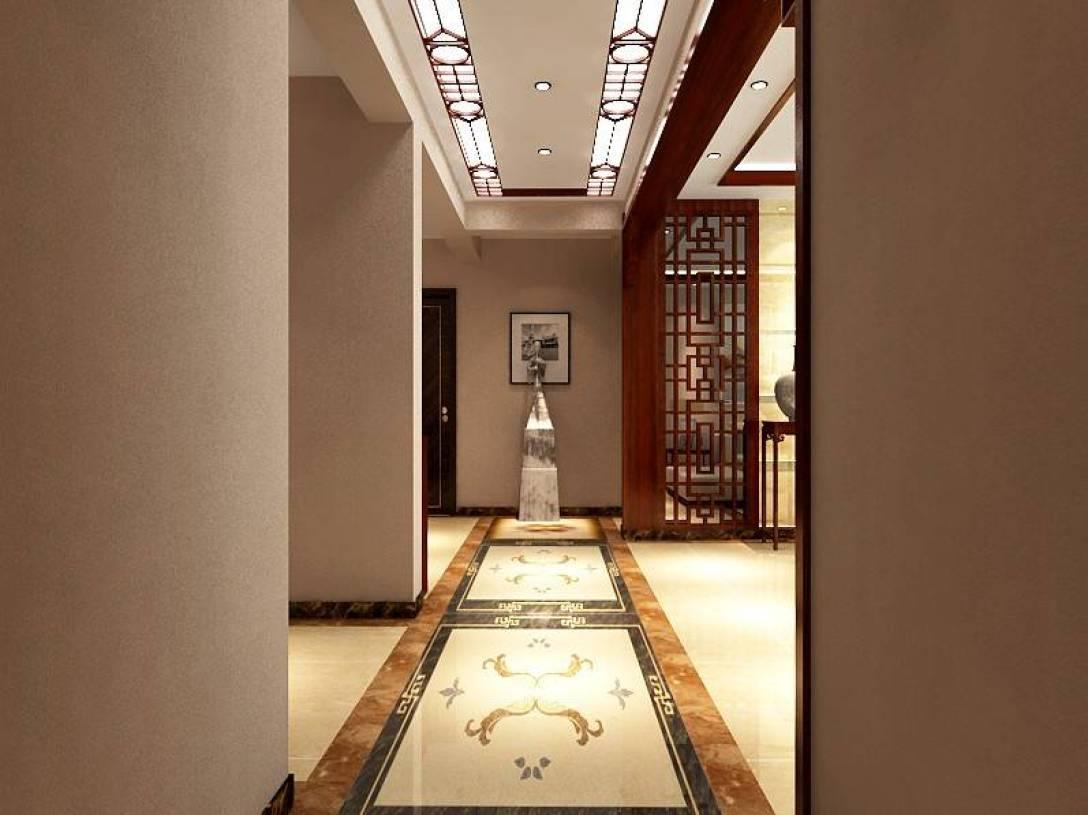 新中式风格过道吊顶装修效果图