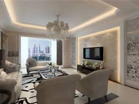 142㎡三居室简约欧式风格客厅电视背景墙装修效果图-简约欧式风格实木电视柜图片
