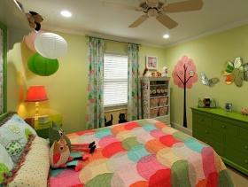 90平米三居室田园风格儿童房背景墙装修效果图-田园风格儿童床图片