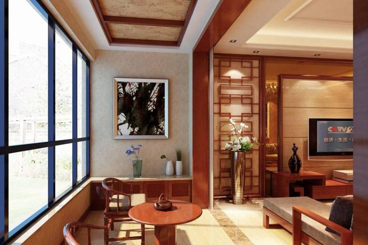 中式风格阳台装修效果图-中式风格实木茶几图片