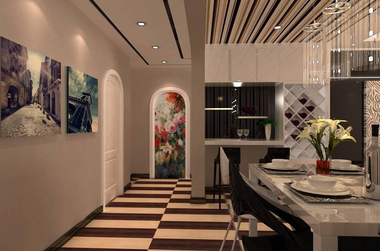 130㎡三居室现代简约风格走廊吊顶装修效果图-现代简约风格红酒柜图片