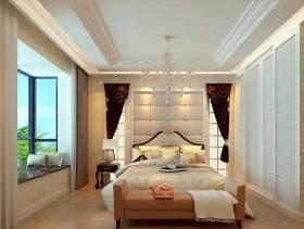133平现代风格三居主卧室背景墙装修效果图,现代风格松木床头柜图片