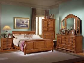 美式风格卧室背景墙装修效果图-美式风格实木家具衣柜图片