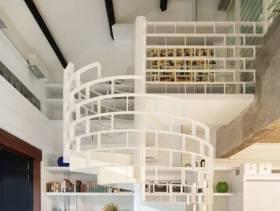 小复式楼现代简约风格过道吊顶装修图片,现代简约风格书柜图片