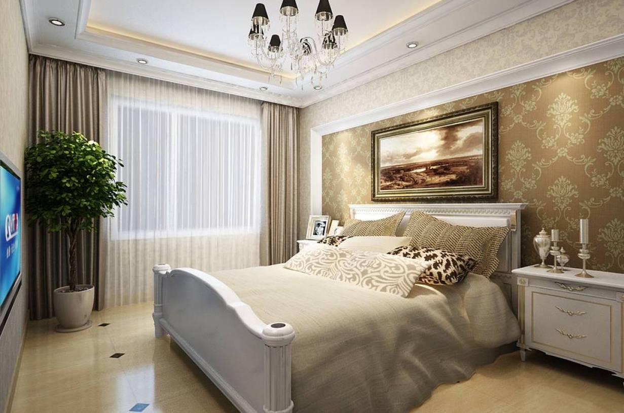 简欧风格卧室背景墙装修效果图,简欧风格吊顶图片图片