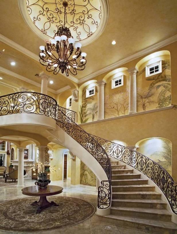欧式风格别墅大厅旋转楼梯装修效果图-欧式风格吊灯图片图片