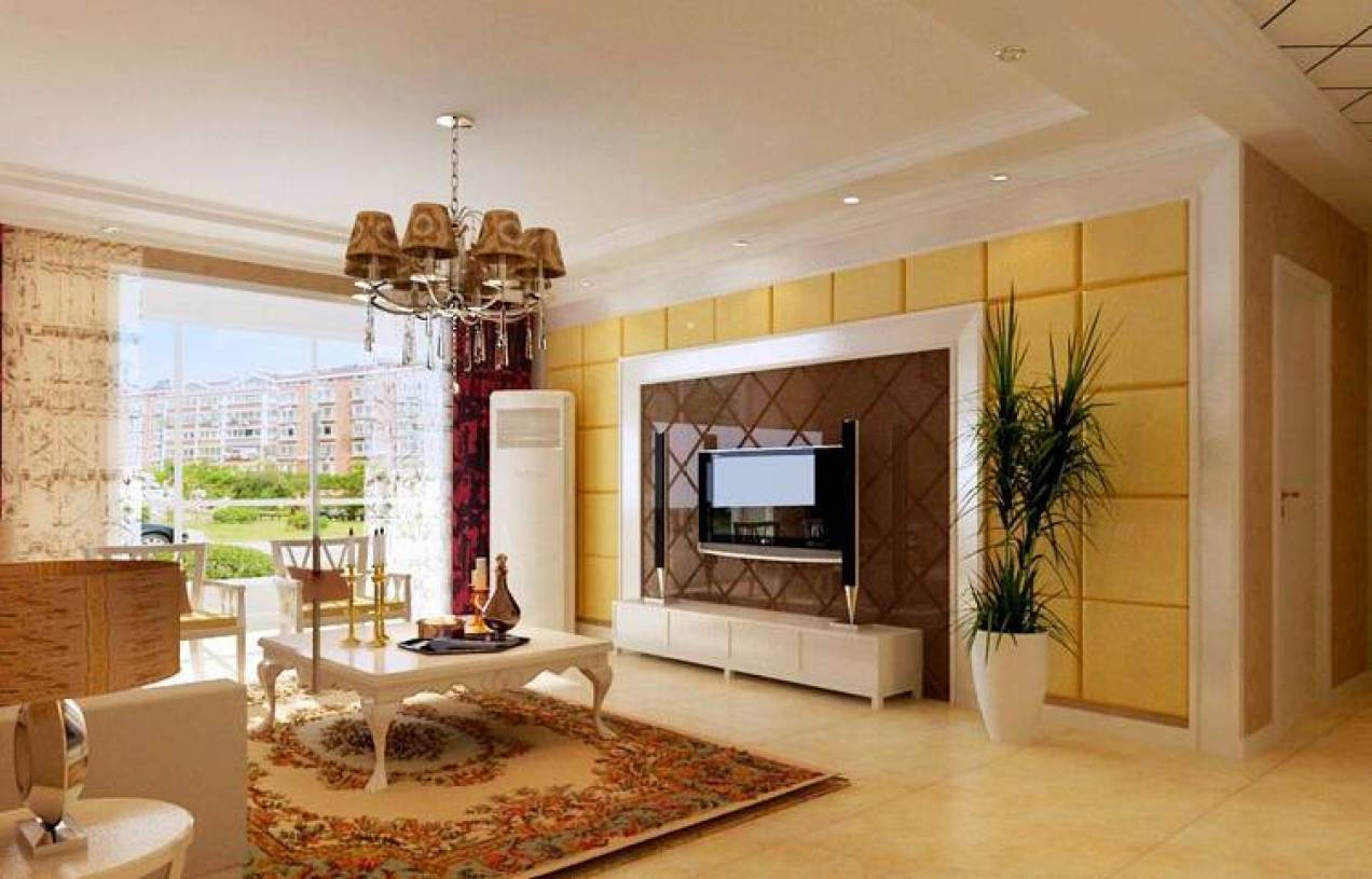 简欧风格客厅瓷砖菱形贴背景墙装修效果图